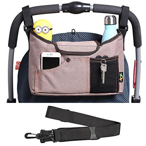 AMZNEVO Best Universal Baby Jogger Stroller Organizer Bag/Diaper Bag with Shoulder Strap and Two Deep Cup Holders. Extra Storage Space for Organize The Baby Accessories and Your Phones. (Brown)