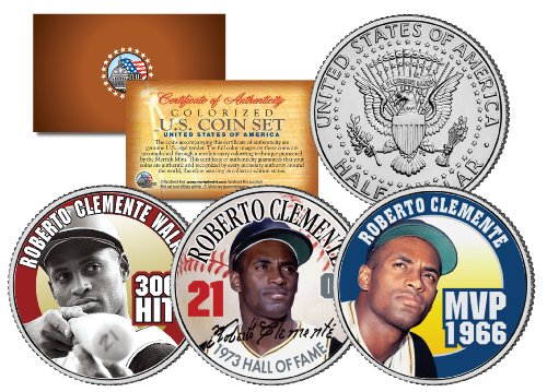 ROBERTO CLEMENTE 1972 JFK Kennedy Half Dollar Colorized U.S. 3-Coin Complete Set