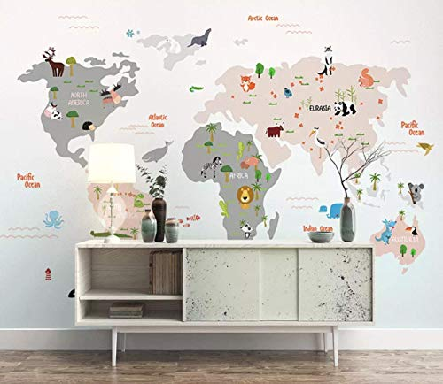 Murwall Kids Wallpaper Child World Map Wall Murals Animals Wall Decor Boys Girls Bedroom Nursery Wall Art Baby Room Wall Painting ()