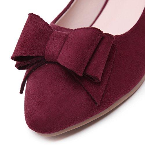 DQQ Damen Schleife Spitz Zulaufender Zehenbereich Flache Schuhe, Rot - Wein - Größe: 38
