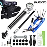NAMUCUO Bike Tyre Repair Tool Kit - Bicycle Tool kit with 210 Psi Mini Pump 10-in-1 Multi-Tool(with Chain Breaker), Tyre Levers &Tire Patch, Bone Wrench, 1 Portable Bag. 6 Month Warranty