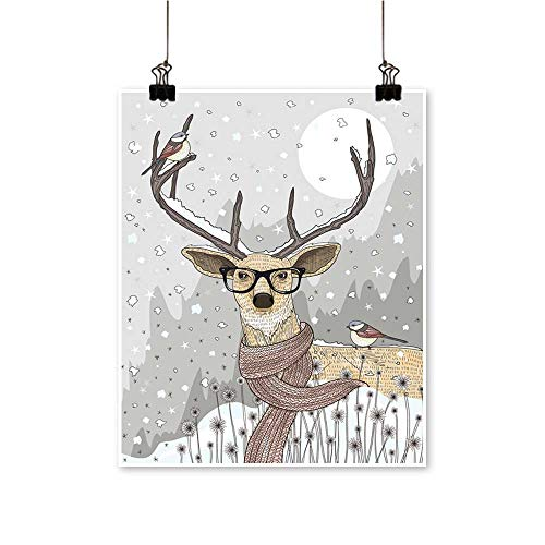 Modern Painting Hipster Deer Scarf Glasses. Winter Night Bedroom Office Wall Art Home,28