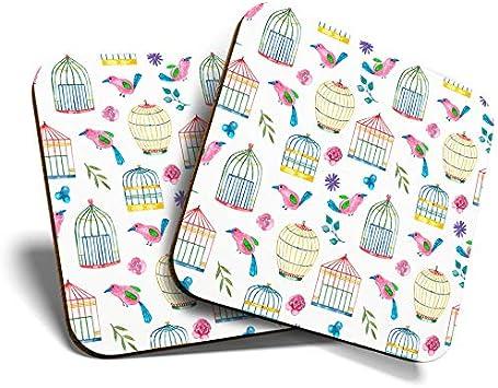 Great Coasters (Set de 2) Posavasos cuadrado/brillante de calidad para cualquier tipo de mesa, diseño de jaula de pájaros, patrón de pájaros #21224