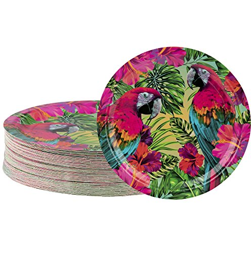 (Disposable Plates - 80-Count Paper Plates, Tropical Party Supplies for Appetizer, Lunch, Dinner, and Dessert, Kids Birthdays, Parrot Design, 9 x 9)