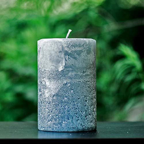 Rustic Textured Stone Gray Unscented Pillar Candle - Choose Size - Handmade