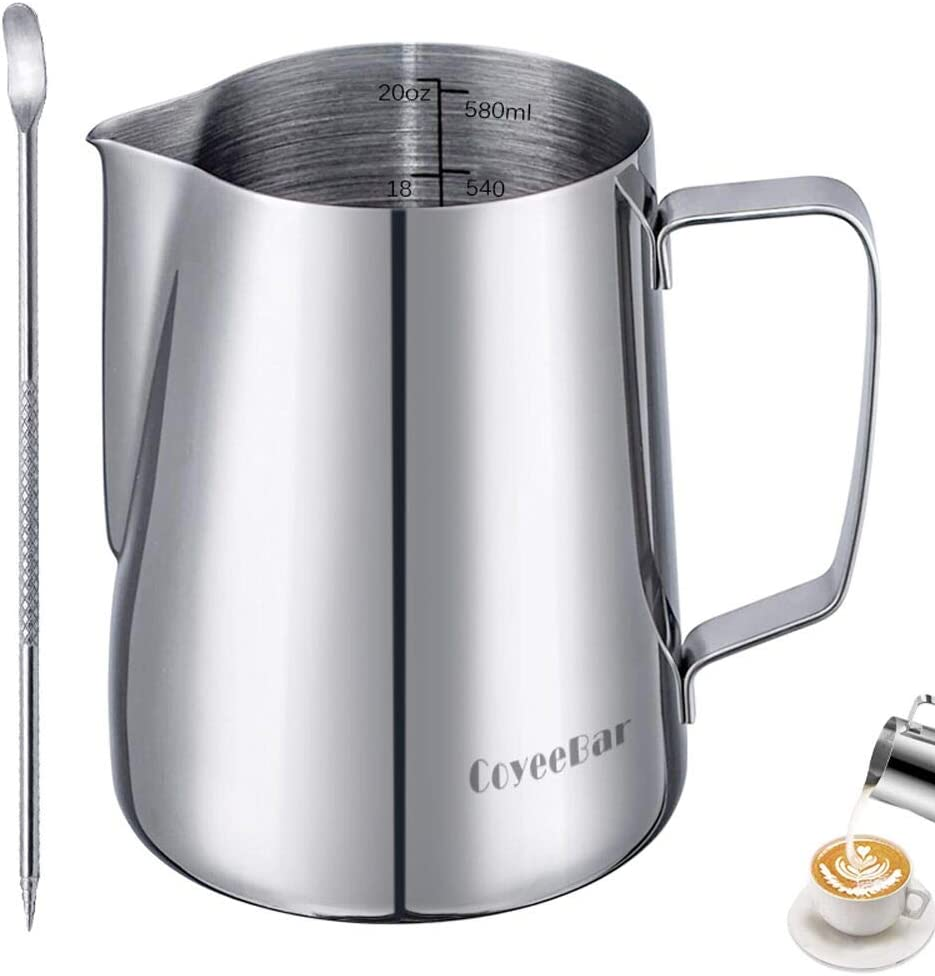 Milk Frother Cup 20 oz, Perfect Milk Steamer Cup for 1-3 Servings,Stainless Steel Milk Frothing Pitcher ,Also Can Warm or Melt Butter and Milk with Cooktop ,Attached Art Pen