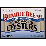 BUMBLE BEE Fancy Smoked Oysters, 3.75 Ounce Can, Smoked Oysters Canned, High Protein Food and Groceries, Keto Food, Gluten Free, High Protein Snacks