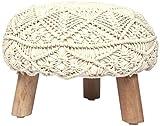 Madhu's COLLECTION Unique 3 Legs Pouf Decorative, Large, Natural