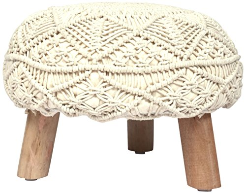 Madhu's COLLECTION Unique 3 legs Pouf Decorative, Large, Natural by Madhu's COLLECTION