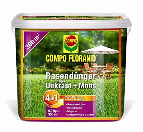 COMPO FLORANID® Rasendünger gegen Unkraut+Moos 4in1, perfekt Absgestimmte Rasenpflege mit zuverlässiger Unkraut- und Moosvernichtung, 9 kg für 300 m²