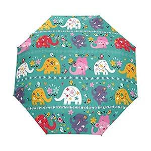 yochoice elegante Funny Cute Elefantes Animales flores plegable automática paraguas, 3-fold compacto Fashion paraguas de viaje
