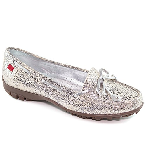 (MARC JOSEPH NEW YORK Women's Fashion Shoes Cypress Luxury Metallic Snake with Tie Bow Moccassin Size 9)
