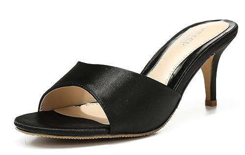 889e42700ae2c WSKEISP Womens Low Heel Mules Slip On Kitten Heels Slingback Open Peep Toe  Heeld Slide Sandals
