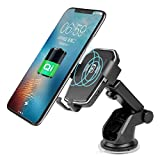 Wireless Car Charger, TUREAL Windshield Car Phone Mount Holder, Qi 10W Wireless Charging Strong Sticky Gel Pad Compatible iPhone X, 8/8 Plus, Samsung Galaxy S8/S8 Plus/S7/S7 edge/S6 edge Plus/Note 8/5