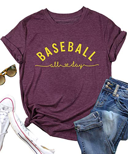 (Women Baseball All Day O-Neck T-Shirt Funny Letters Print Short Sleeve Casual Tops Tees Size XL (Red))