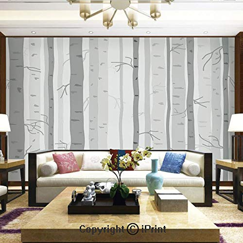 Mural Wall Art Photo Decor Wall Mural for Living Room or Bedroom,Birch Trees in Autumn Fall Branches Forest with Soft Colors Modern Graphic Print Decor Decorative,Home Decor - 100x144 inches
