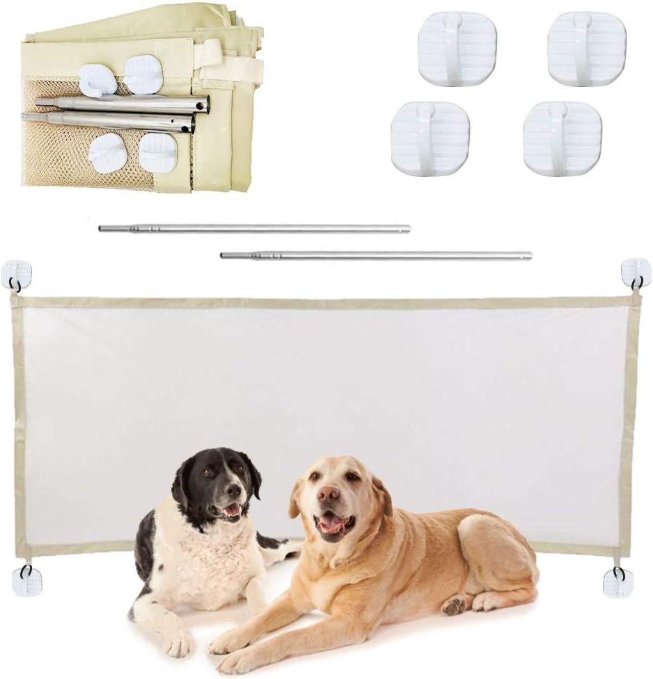 N/D Elinala Puerta Seguridad Perros, Puerta Mágica para Mascotas, Red de Aislamiento para Mascotas de 110 x 72 CM Plegable y Fácil de Instalar para Pasillos, Habitaciones y Escaleras (Beige)