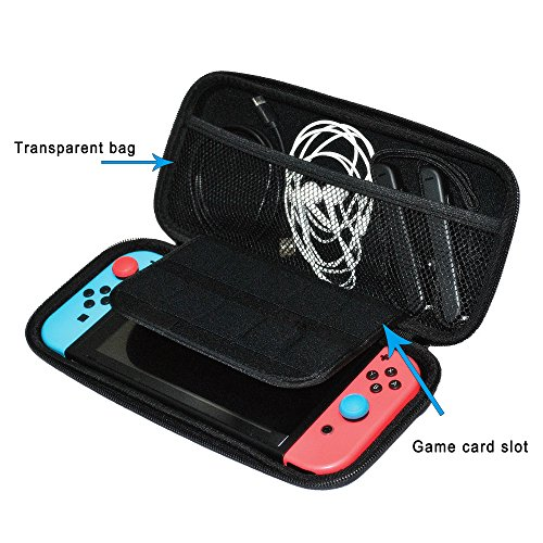 Nintendo Switch Case,Protective Hard Shell Traveler Carrying Case Compatible with Nintendo Switch with Screen Protector and Game Cartridge Holder for Nintendo Switch Console & Accessories(Black) Photo #6