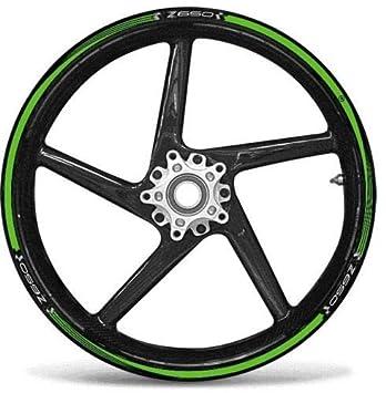 Set Rayas Pegamento Verde Compatible para Ruedas 17 Moto Kawasaki Z650 Tuning: Amazon.es: Coche y moto