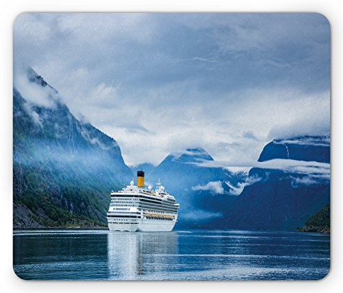 Holiday Mouse Pad by Lunarable, Cruise Liners On Hardanger Fjorden, Norway Mountain Summer Holidays Landscape, Standard Size Rectangle Non-Slip Rubber Mousepad, Blue Green White