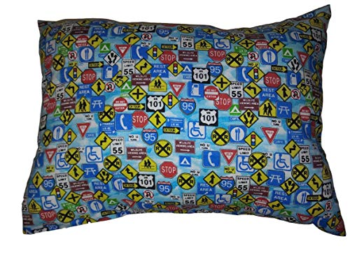 "Driving Signs PILLOW with PILLOWCASE, Size 13""x 18"", throw pillow, neck or travel, bed, sofa, dorm, chair decor. Kids, Hypoallergenic, washable. Ready to use."