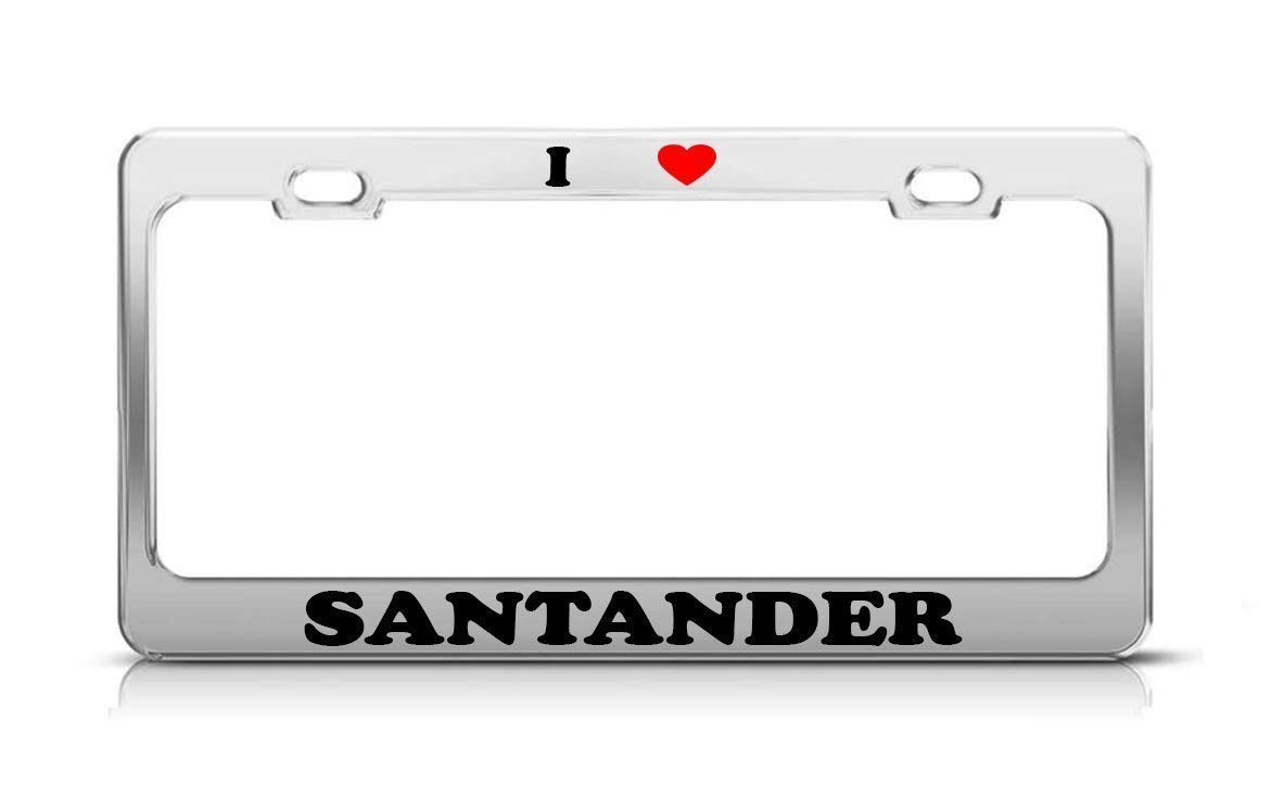 Amazon.com: gnilgnilgnaw I Heart Santander Spain Metal Auto ...
