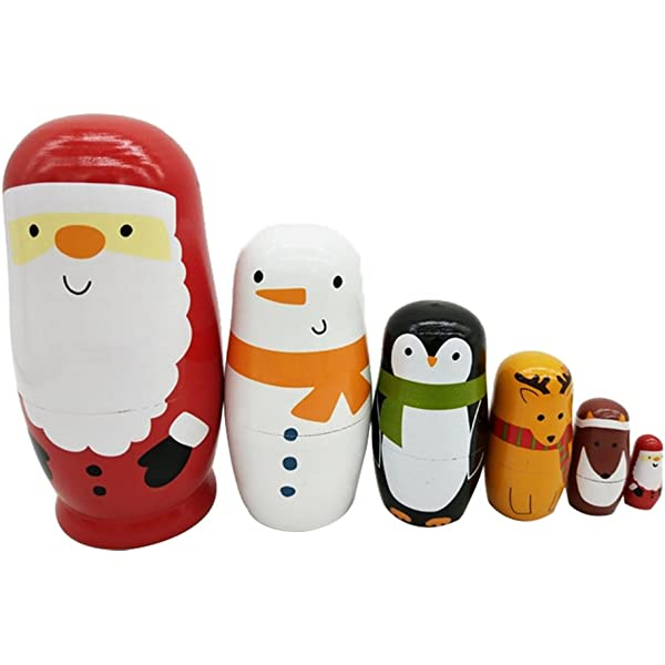 6pcs Christmas Russian Nesting Dolls Wooden Santa Snowman Stacking Matryoshka