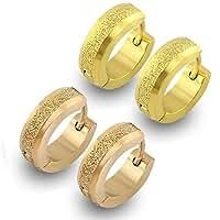 StainlessSteelUniqueSmallHoopEarringsforWomen Matte HuggieEarrings 14K Gold Rose Gold Plated