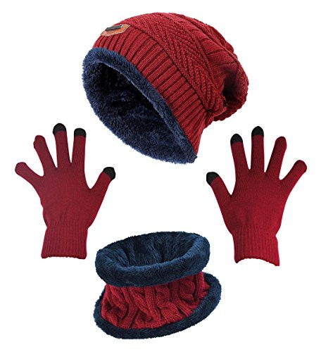 Winter Beanie Hat Scarf Gloves Slouchy Snow Knit Skull Cap Scarves Touch Screen Mittens for Women Burgundy