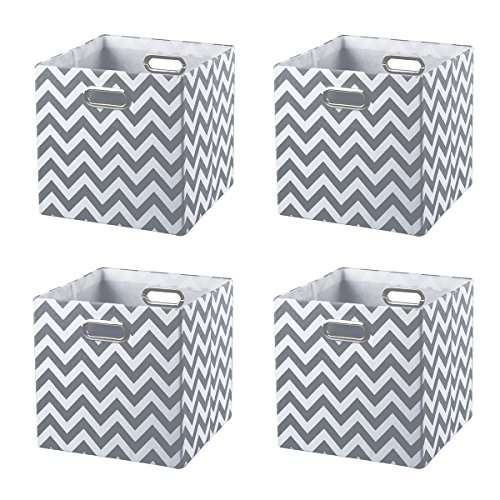 BAIST Cube Storage Bins,Foldable Canvas Decorative Closet Storage Cubes Baskets for Cubby Nursery Bedroom Shelf Toys,Set of 4