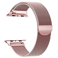 Band for Apple Watch 42mm Mesh Loop for iwatch Band Men Rose Gold