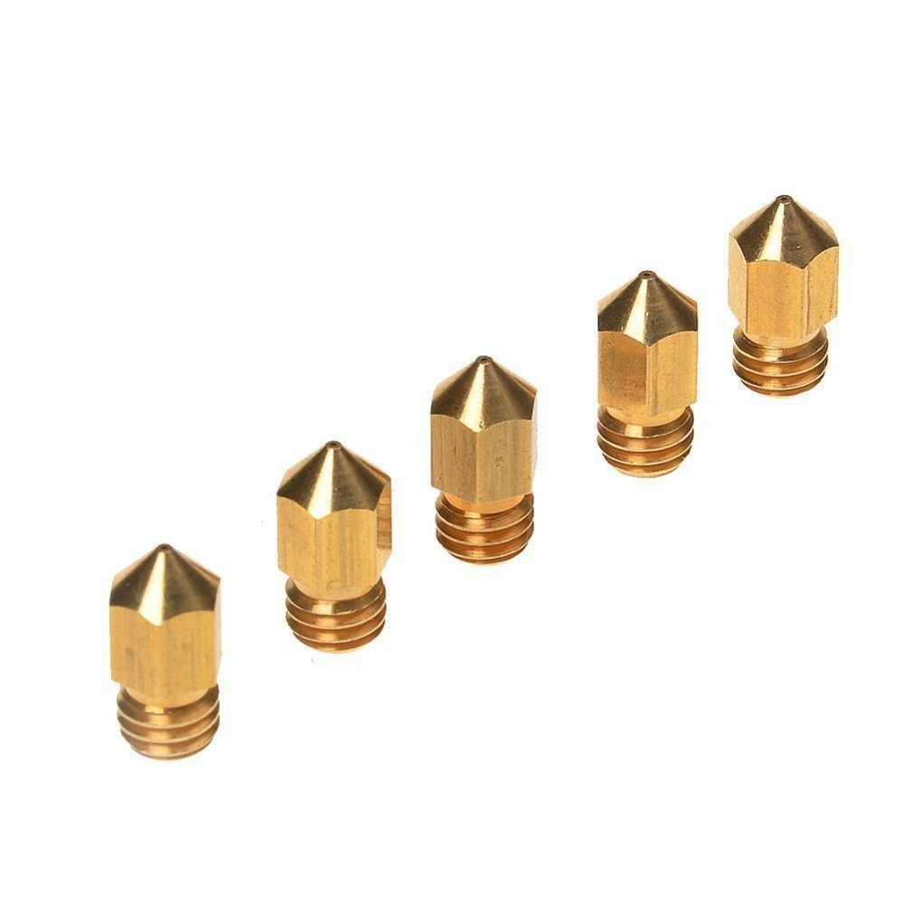Kamo 5PCS 3D Printer 0.4mm Extruder Brass Nozzle Print Head for MK8 1.75mm ABS PLA Printer