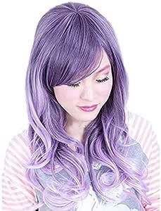 Dayiss® – peluca de mujer color lila, de pelo largo, rizado/ondulado, pelo sintético, peluca completa, fiestas de disfraces, como pelo auténtico: Amazon.es: Belleza