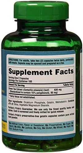 Puritans Pride Green Tea Standardized Extract 315 Mg Capsules, 200 Count 3