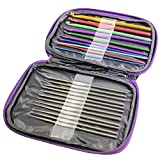 22 Pc Set of Aluminium & Steel Crochet Hooks By Curtzy - Hook and Needle Kit in Purple Storage Case - Ideal for Crocheting, Lace, Doilies & Flower Projects - The Best Set for Beginner and Professional