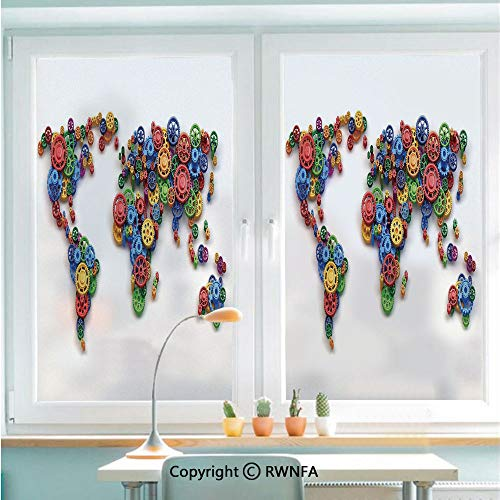 RWNFA Window Films Privacy Glass Sticker Map of The World Colorful Gears Design Global Economy Concept Art Print Decorative Static Decorative Heat Control Anti UV 22.8In by 35.4In,Multicolor