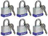Ram-Pro Laminated Solid Steel Padlocks Hardened Shackle, Heavy Duty Lock with Shackle, Wide Body Keyed Alike Laminated Steel Pin Tumbler Keys Included Outdoor Security Lock (Pack of 6)