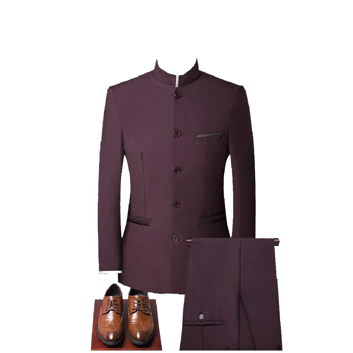 Nicelly Mens Slim Fit Chinses Style 3-Pieces Blazer Vested Dress Suit Set