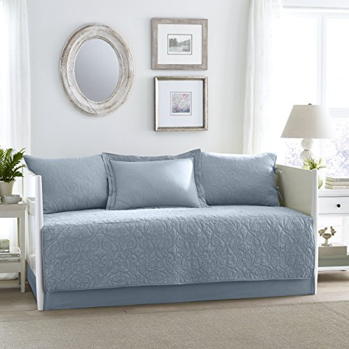 Country Set Daybed - Laura Ashley Felicity 5 Piece Quilt Set, Breeze Blue, Daybed