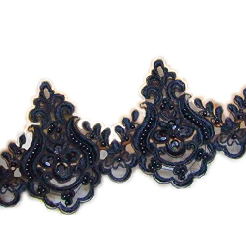 5''Black Embroidery Beaded sequined lace trim gorgeous lace trim by the yard for fabric Millinery accent motif dress decoration bridal lace wedding lace trim - Lace Trim Yard