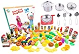 plastic bbq set - Kids Play Kitchen Cookware sets stainless steel Pots and pans set with plastic food by Jogo Jogo Kitchen sets - Play food kitchenware for Kids Kitchen utensils set kitchen play set pretend food play