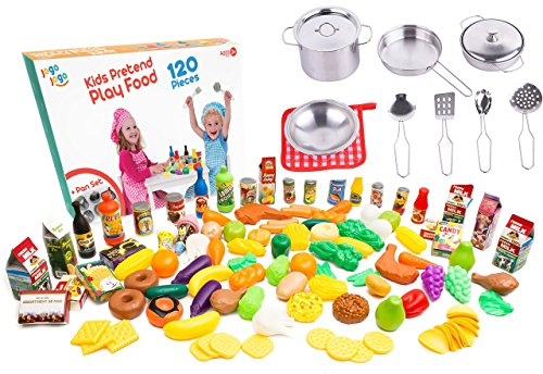 Kids Play Kitchen Cookware sets stainless steel Pots and pans set with plastic food by Jogo Jogo Kitchen sets - Play food kitchenware for Kids Kitchen utensils set kitchen play (Bun Play Food)