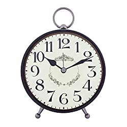 Konigswerk Vintage Retro Old Fashioned Decorative Quiet Non-ticking Sweep Second Hand, Quartz Analog Large Numerals Desk Clock, Battery Operated, Loud Alarm (AC122G) (Black)