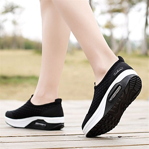 Shoes Black Loafers Size Shoes Mesh Scurtain Casual Plus Walking Slip Nurse Womens Shoes Moccasin Driving On qF6Zy7WF