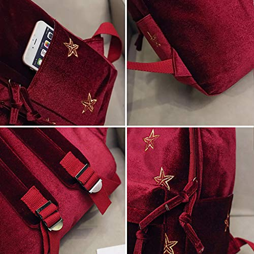 Velvet for Quality Schoolbag Travel Women Backpack Student Teens Girls Embroidery Bags Boys Pattern School Knapsack Backpack Shoulder Shoulder Bag Shopping Pink GUBENM Rucksack Star qEp4ynT