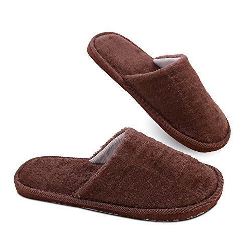 ABARBAR House Slippers For Men, Mens EVA Warm Winter Slippers - Brown Doc Glasses