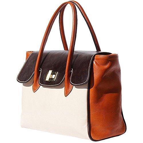 Florence Multicouleurs Beige 6553 Foncé Market Leather Avec 2 Lanières marron À marron Clair Sac Main qTpqrXn