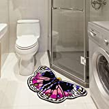 MAXYOYO Butterfly Bathroom Rug Hand-embroidered Floor Mats Personalized Custom Carpets Butterfly Imprint Anti-slip Rugs (purple) Review
