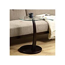Monarch Specialties I 3001 Cappuccino Bentwood Accent Table w/ Tempered Glass