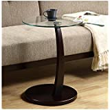 MONI3001 - Monarch Furniture CAPPUCCINO BENTWOOD ACCENT TABLE WITH TEMPERED GLASS